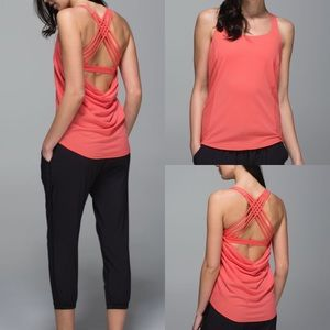 Lululemon wild tank atomic red stripe orange drape
